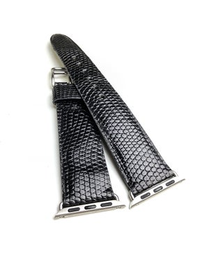 Image of Black Lizard Apple Watch Strap - All Series