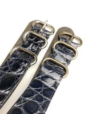 Image of 20 mm Blue Alligator NATO Strap