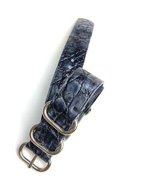 Image of SAMPLE SALE - 20 mm Blue hand-brushed Crocodile NATO strap