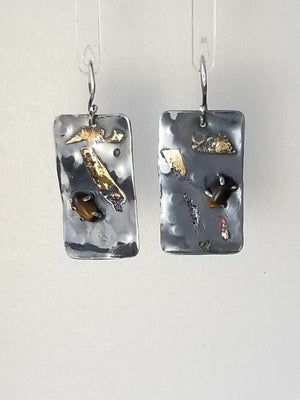 Tiger-eye, 18k gold, Sterling Silver Earrings