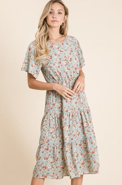 Image of Mint Floral Tiered Dress, S-XL