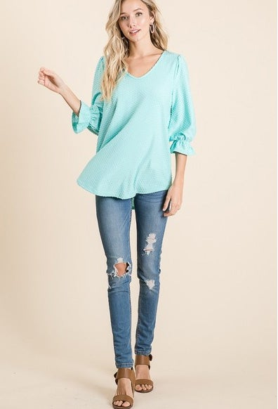 Image of Swiss Dot Ruffle Sleeve Top, S-XL