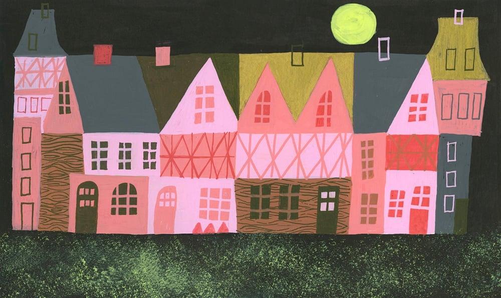 Image of Tudor England at night. Limited edition print.