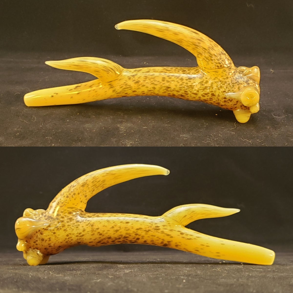 3 Point  glass White-Tail Antler Pipe
