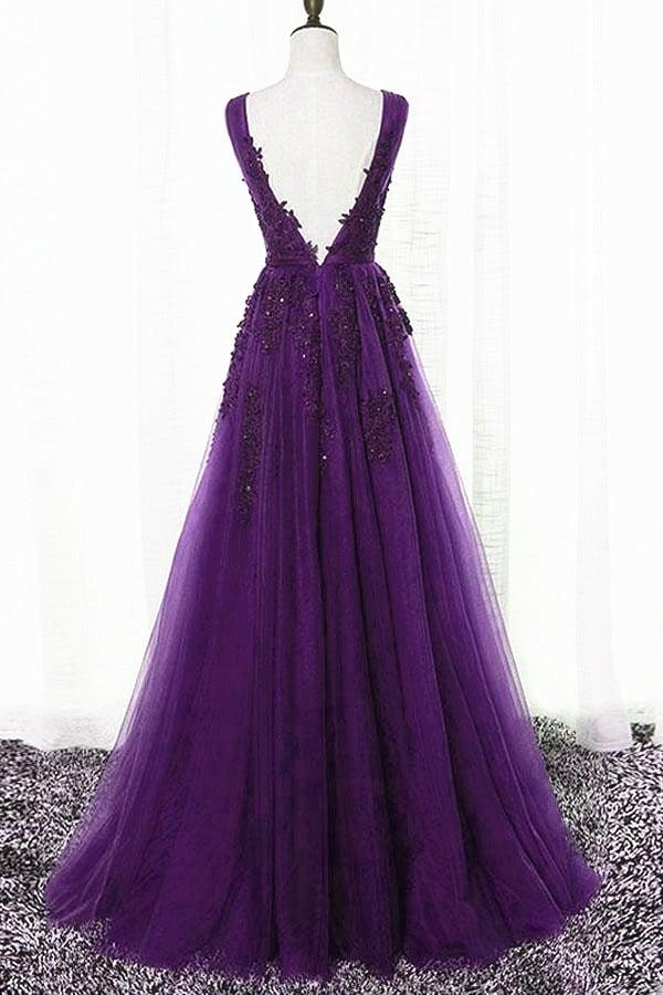 Purple Tulle with Lace Applique Bridesmaid Dress, Long Party Dress