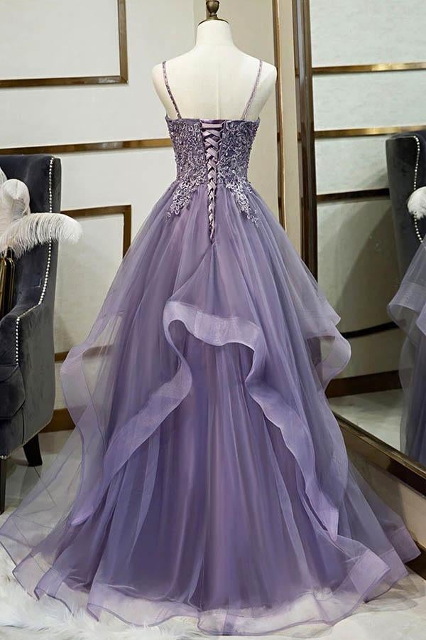 Fashionable Long Tulle Spaghetti Straps Layered Prom Dress, Evening Gown