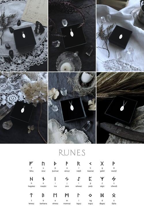 Image of RUNIC AMULET ↟ sterling silver - pick a rune: Algiz, Othala, Ansuz, Fehu, Dagaz, Thurisaz, Jera...