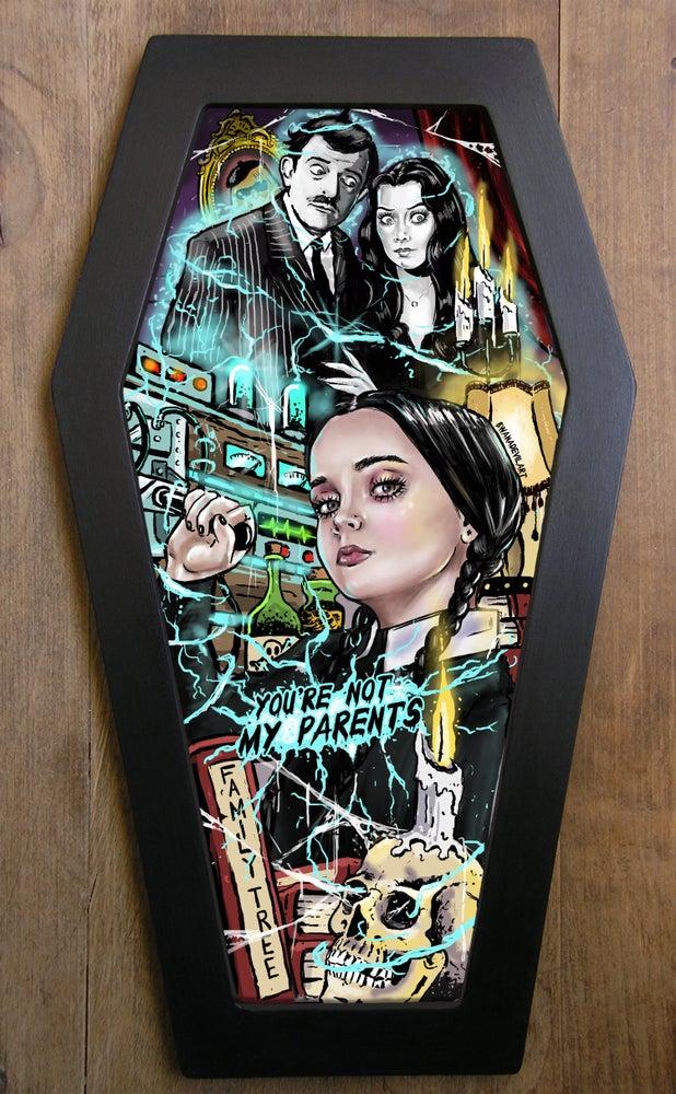 Image of Wednesday Addams Dungeon of Torture Coffin framed print