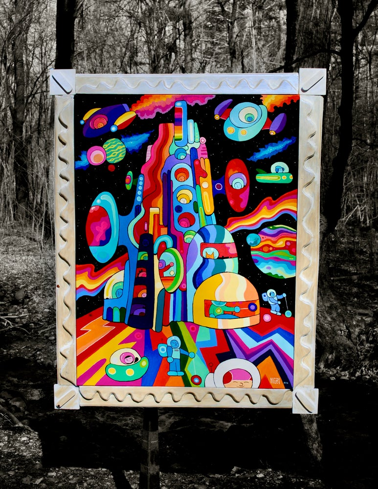 Image of SPACE CITY canvas custom pearl frame 36x46