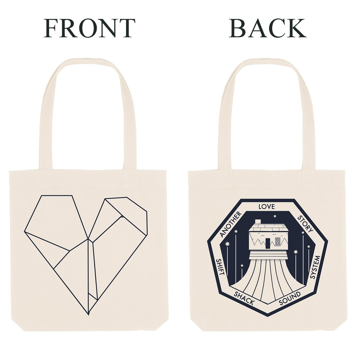 Shift Shack & Heart Logo Tote (White)