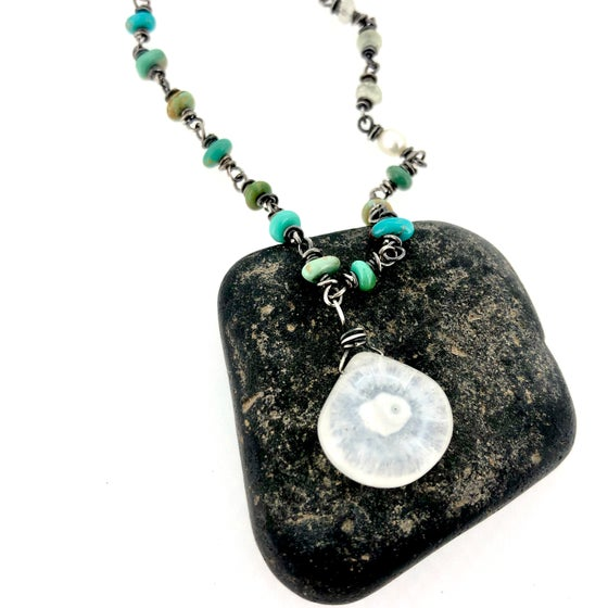 Image of Solar quartz and turquoise necklace