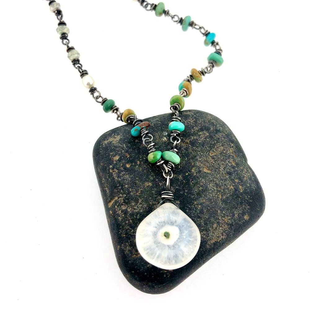 Image of Solar quartz and turquoise necklace