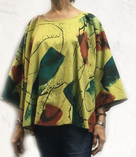 Image of Dale Top - bright chartreuse - Hand Painted Happy-Go-Lucky Design