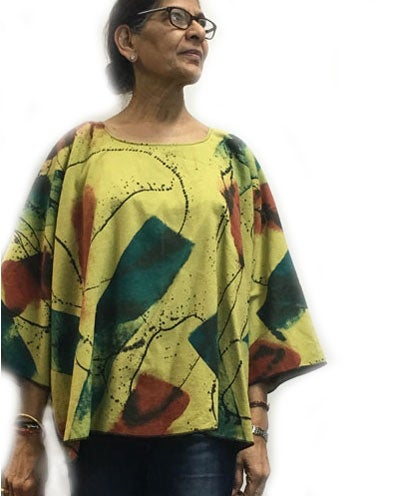 Image of Cotton/Rayon - Dale Top - Hand Painted Happy-Go-Lucky Design