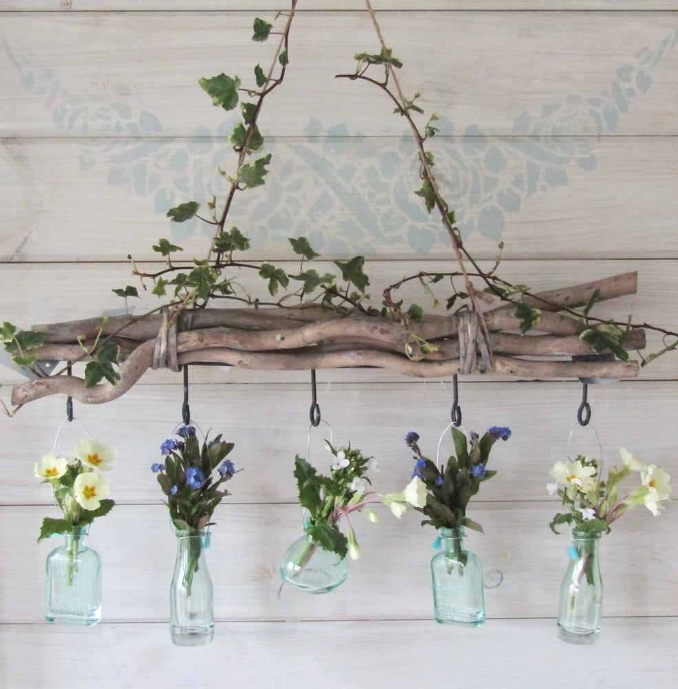 Image of Gisela Graham Rustic Hanging Twig Bundle with 5 hooks - more stock due in March