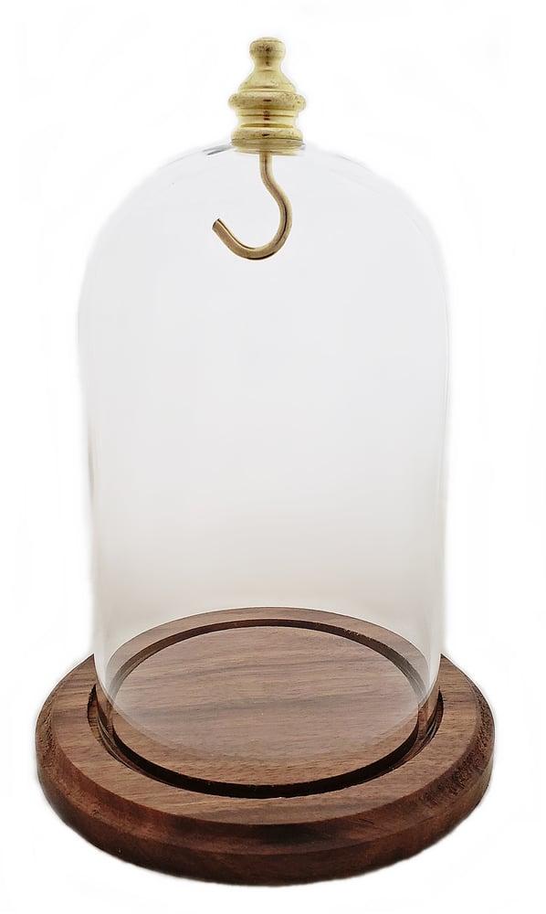 Image of Dueber Pocket Watch Glass Display Dome, Gold Knob & Hook, Real Walnut Base 3″x4-1/2″ DBR41WDH