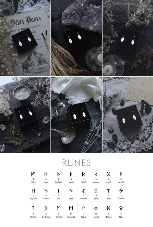Image of RUNIC DROP EARRINGS ↟ sterling silver - any 2 runes: Algiz, Othala, Ansuz, Fehu, Dagaz, Thurisaz..