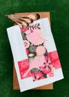 Flour Sack Tea Towel, Two Pink Stenciled Birds with Taupe and Pink Fabric