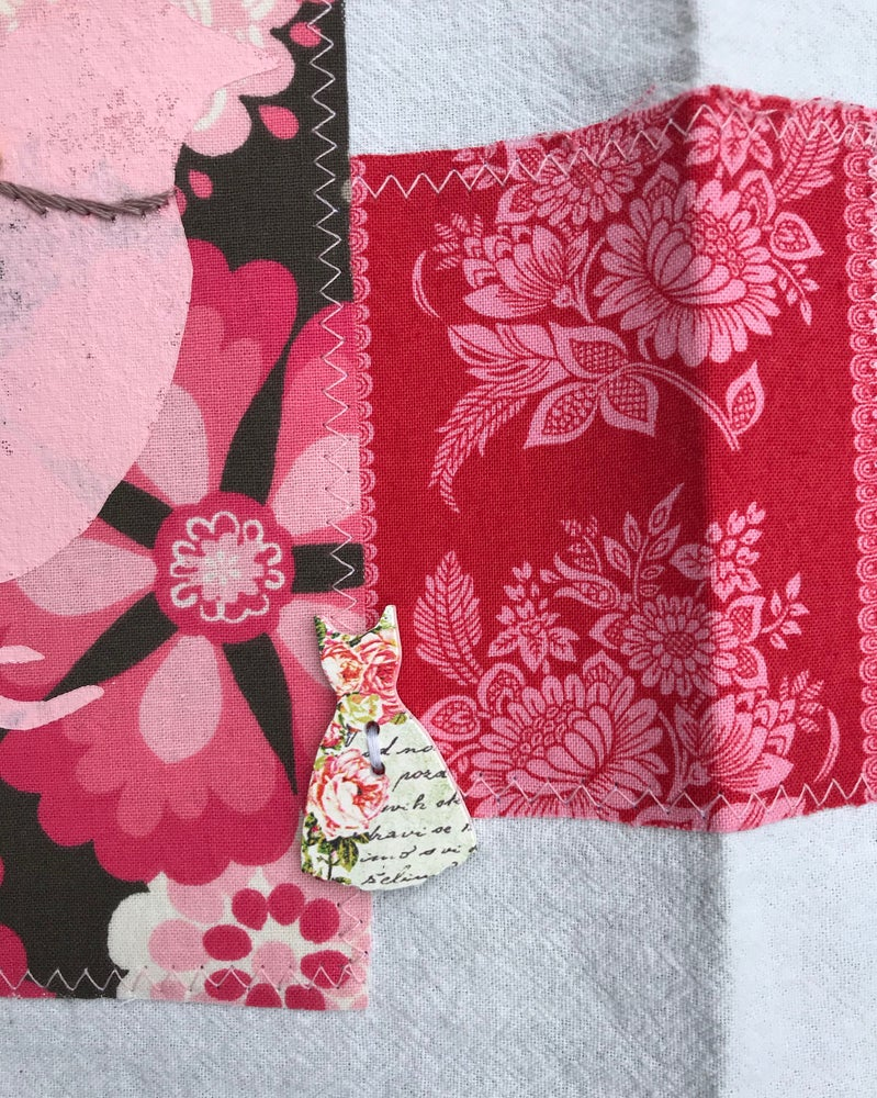 Image of Flour Sack Tea Towel, Two Pink Stenciled Birds with Taupe and Pink Fabric