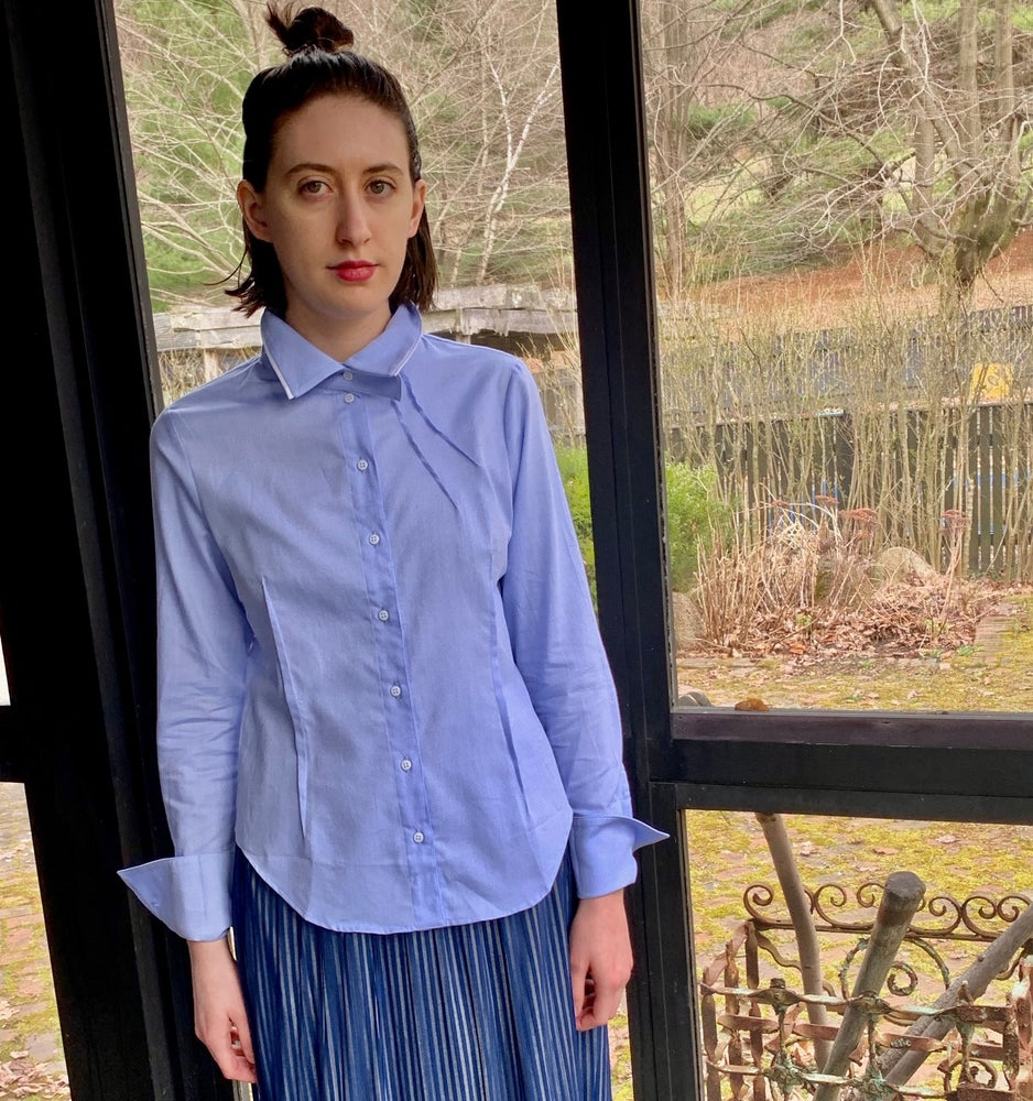 Image of Ken Okada Blue Oxford Cotton Anne Shirt