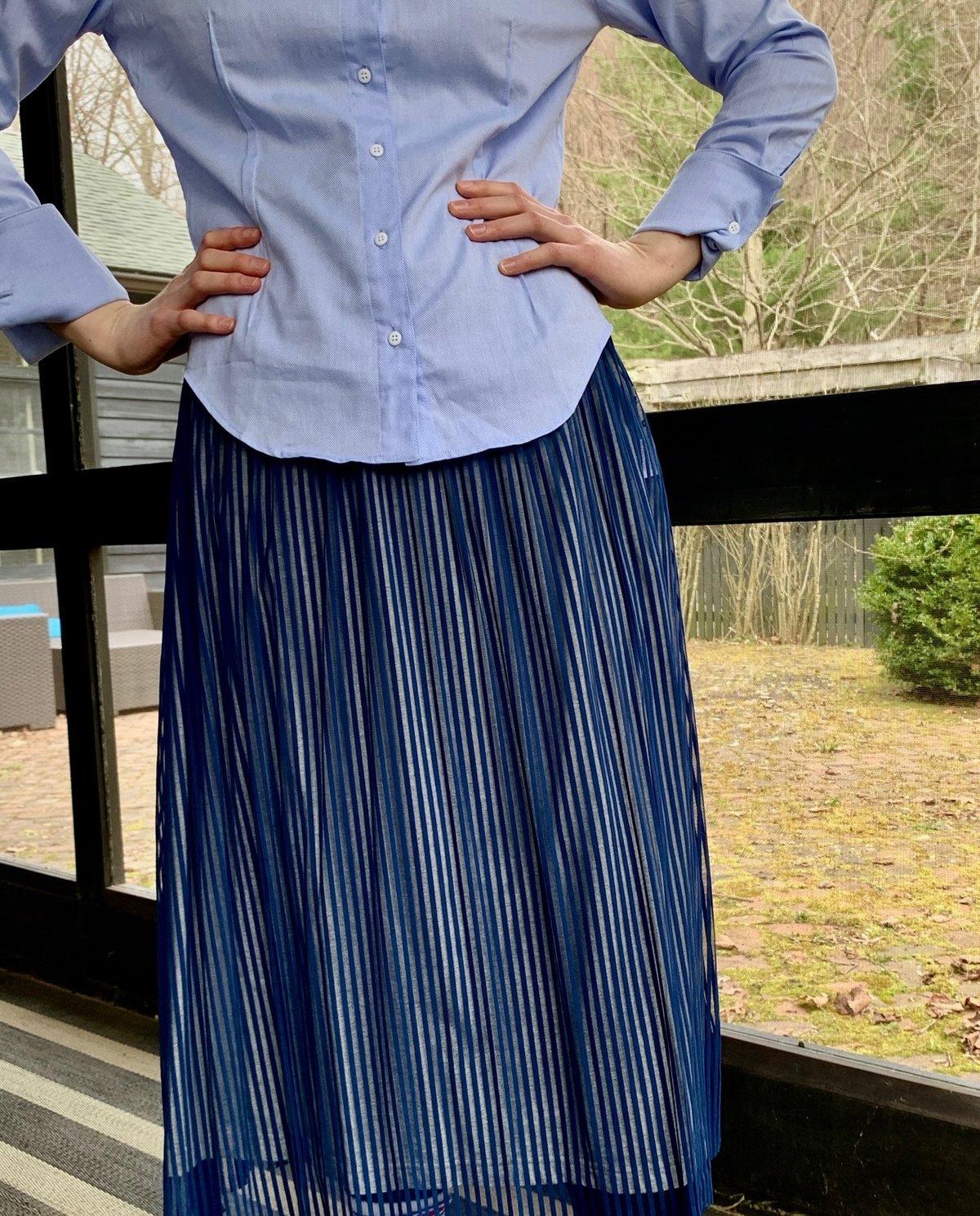 Image of Ken Okada Blue Oxford Cotton Anne Shirt