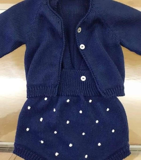 Conjunto de tricô de bebé 1-3 meses - Lopo Xavier