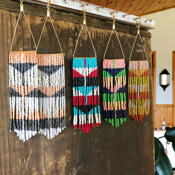 Image of Blocks + Triangles fringe earrings