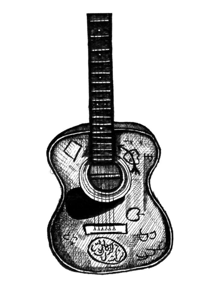 Image of Lennon Guitar by Mak.Ink. A3 screenprint