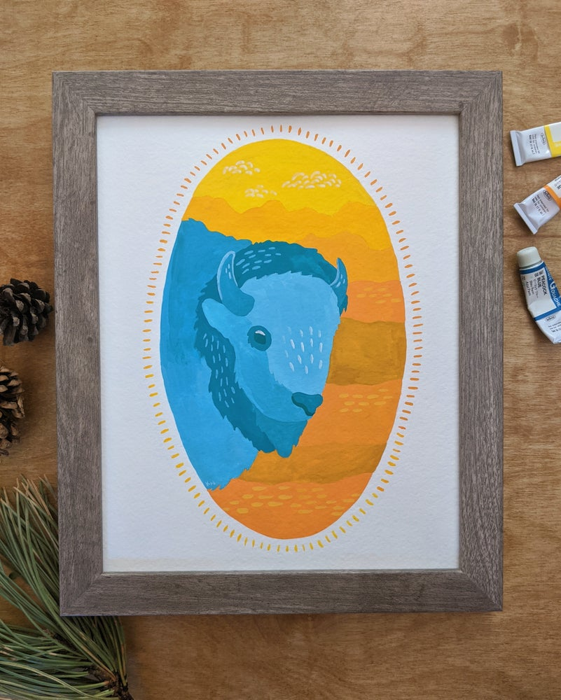 Image of Teal Bison Painting