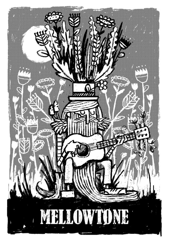 Image of A Mellowman Grooves In A Grove For Mellowtone, by Toucan Tango. A3 screenprint