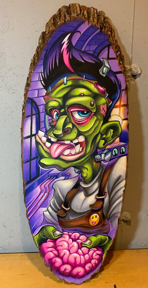 Image of Frank in the Lab Colored pencil on wood