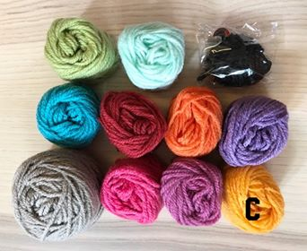 Image of Retro Teddy Bear Striped Yarn Kits