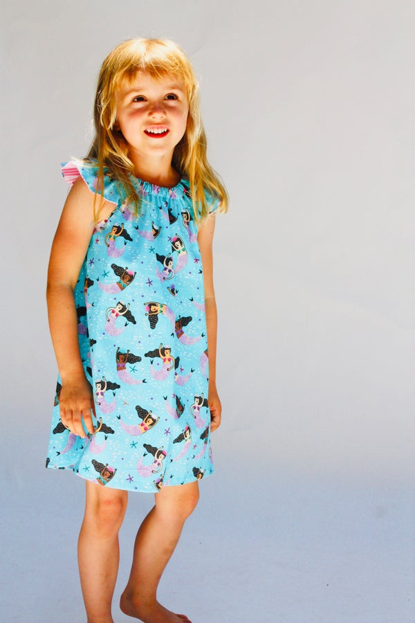Image of Flutter Sleeve Dress in Mermaids