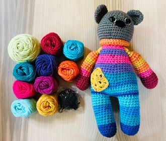 Image of Retro Teddy Bear Striped Yarn Kits 3