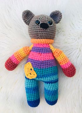 Made for You Striped Teddy Bear