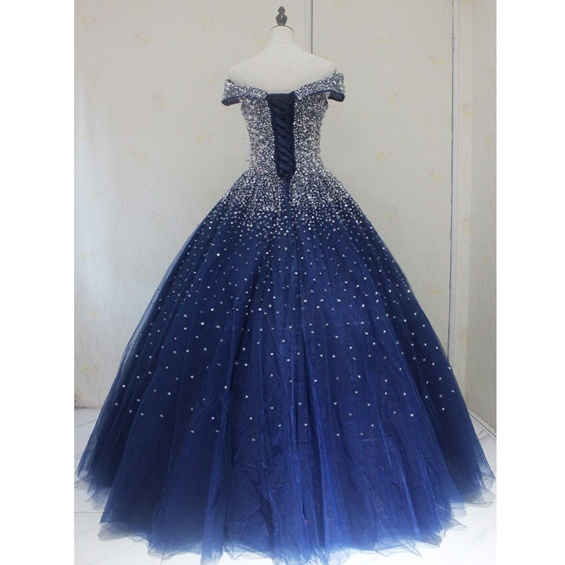 Blue Sparkle Sequins Ball Gown Quinceanera Dress, Beautiful Prom Gown