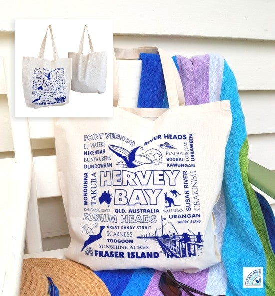 Image of Hervey Bay (Qld) Whale Watch, Fraser Island & Fishing Souvenir Calico Carry Bag (Teal Print)