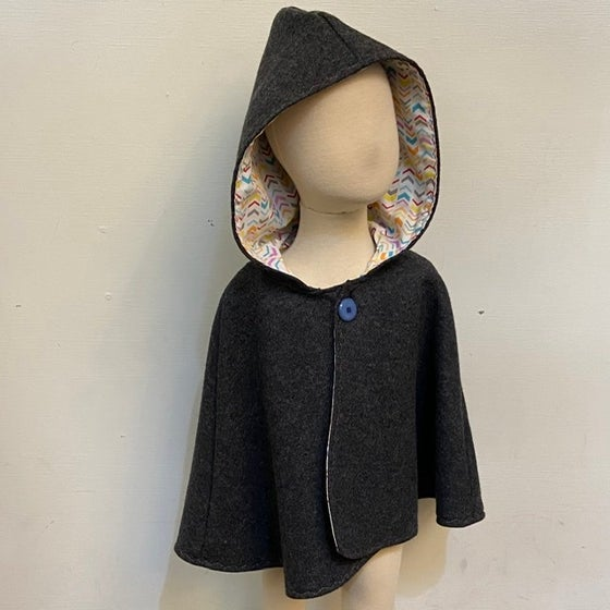 Image of Woollen Cape - Charcoal