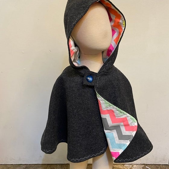 Image of Woollen Cape - charcoal with neon