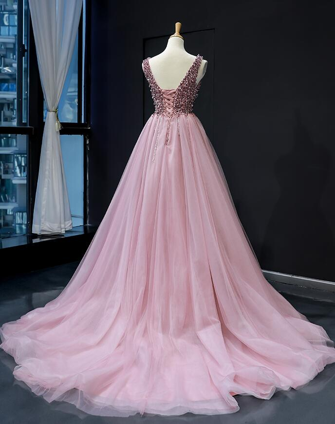 Gorgeous Pink Sequins and Beaded Long Party Dress, Pink Formal Gown