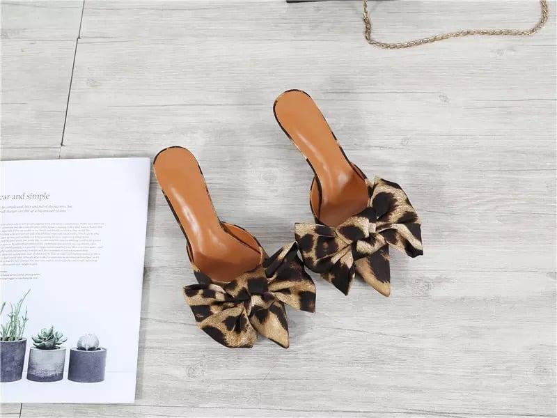 Leopard Print Bow Mule 3inch Heel