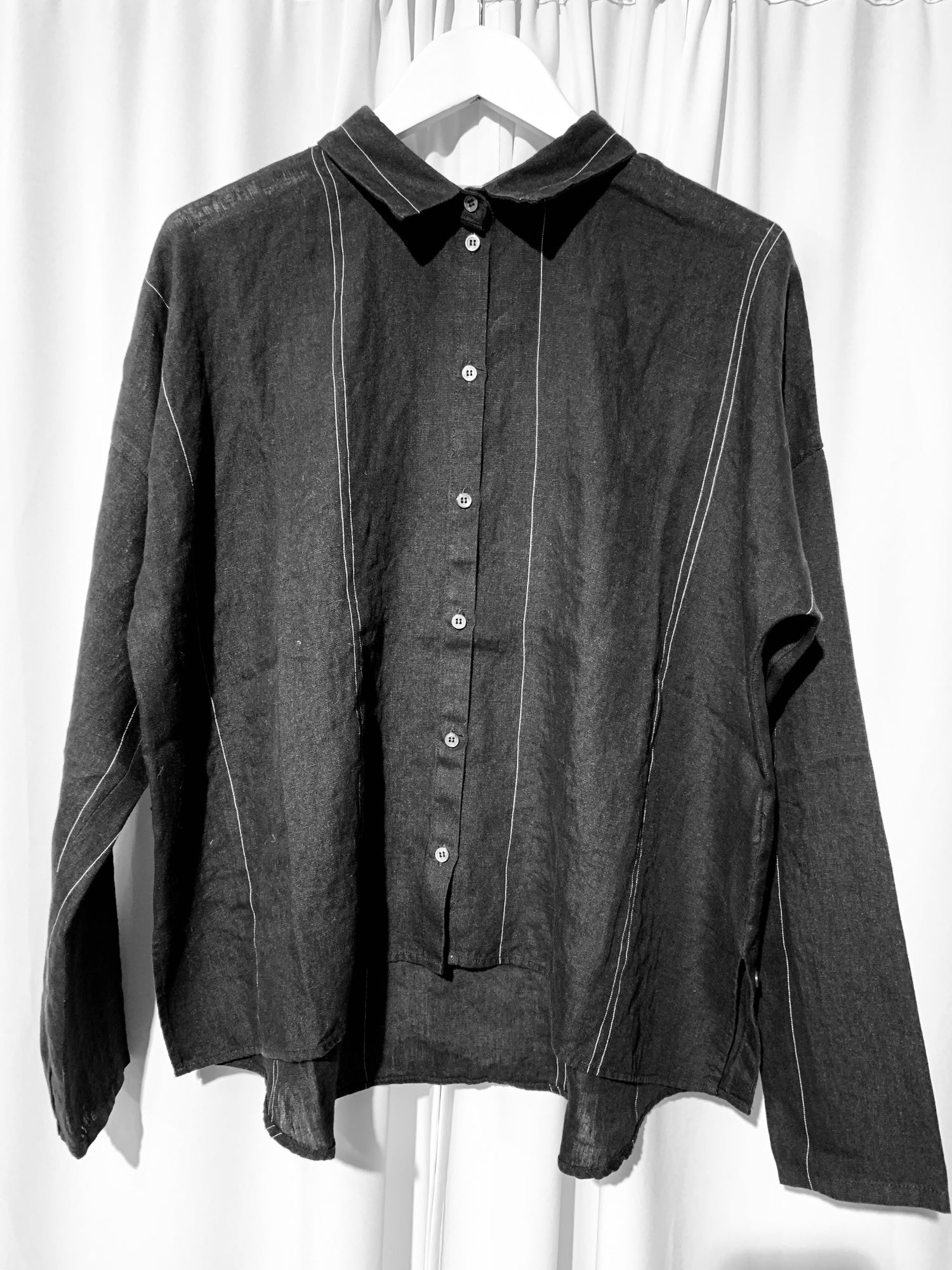Image of NYGARDSANNA Wrap Shirt Black Stripes