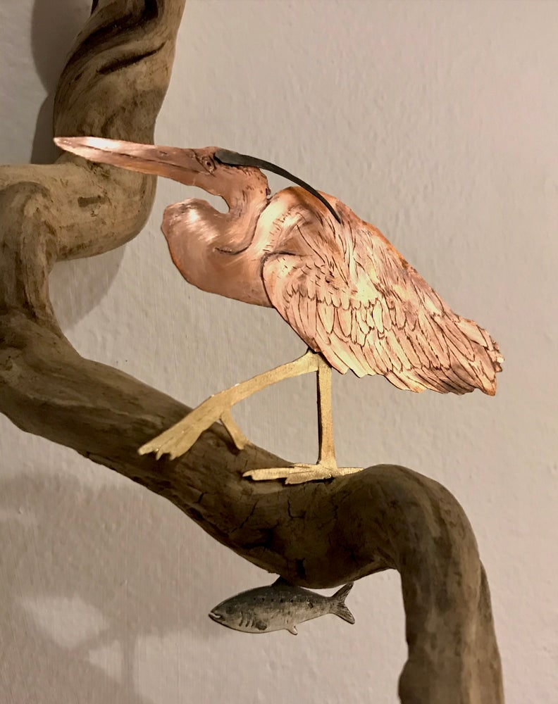 Image of Heron and Fish Sculpture 1