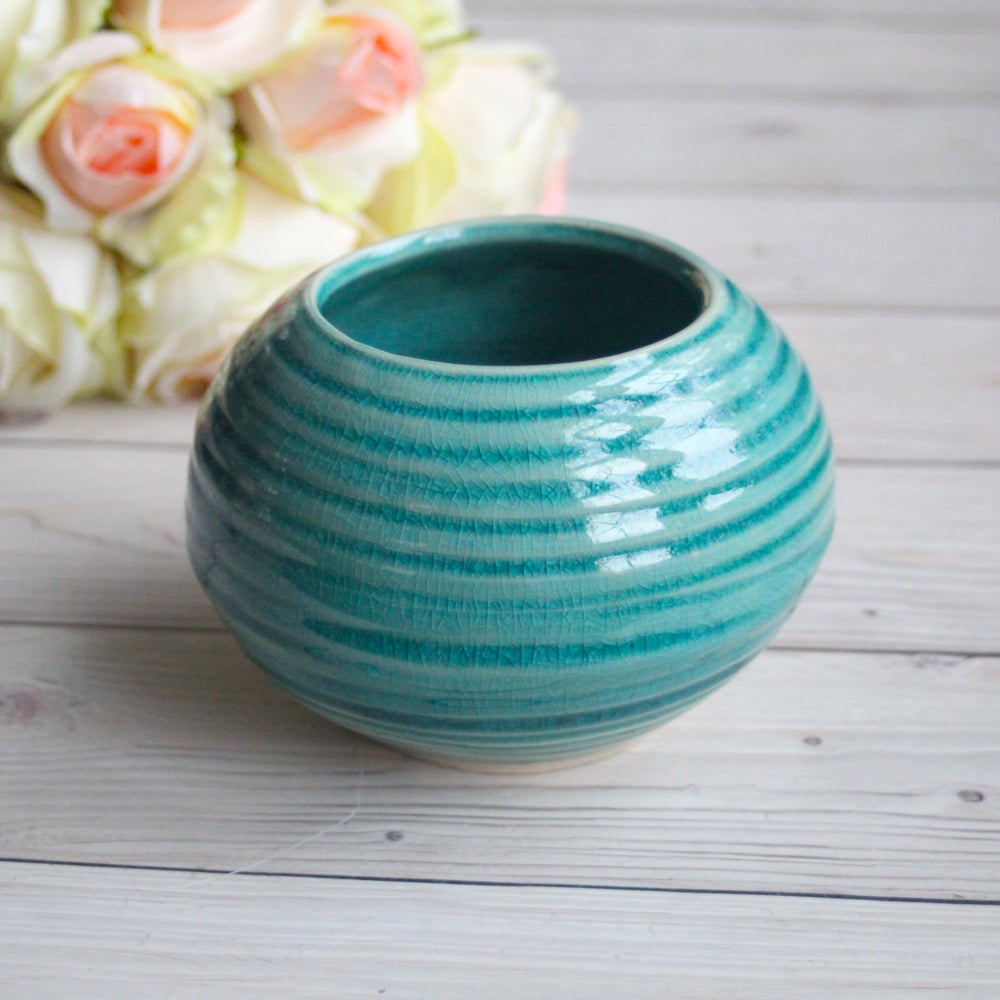 Image of Rustic Carved Turqouise Vase in Crackle Glaze Ready to Ship Made in USA