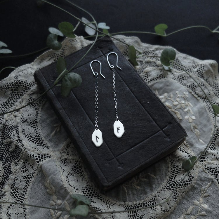 Image of RUNIC DANGLE EARRINGS ↟ sterling silver - any runes: Algiz, Othala, Ansuz, Fehu, Dagaz, Thurisaz..