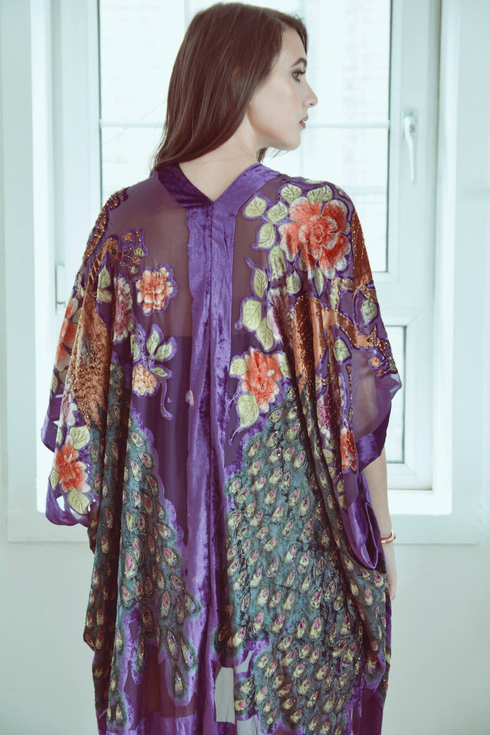 Image of Embellished Peacock Kimono - Purple