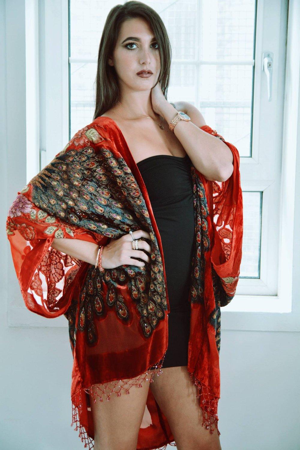 Image of Embellished Peacock Kimono - Red