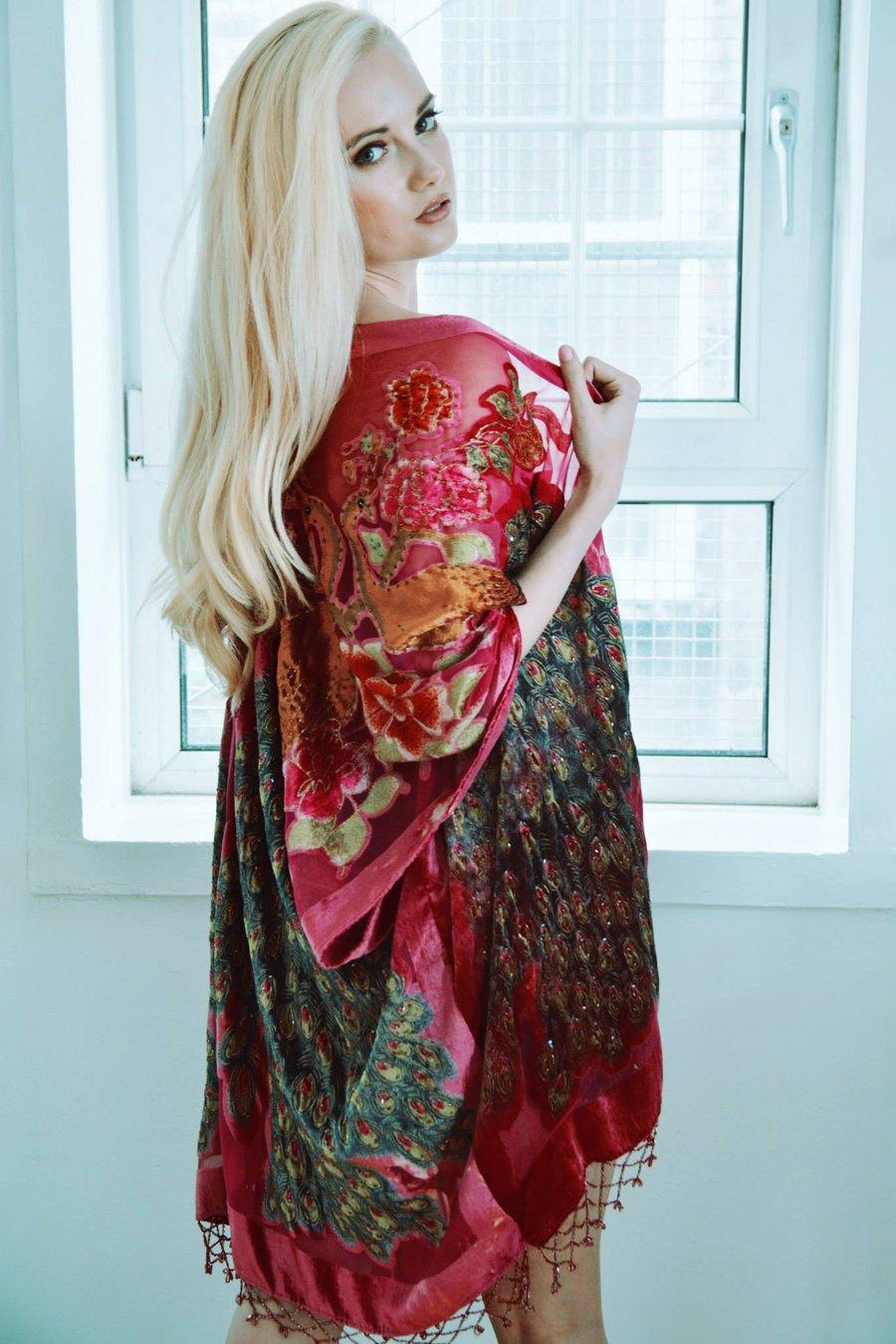 Image of Embellished Peacock Kimono - Pink