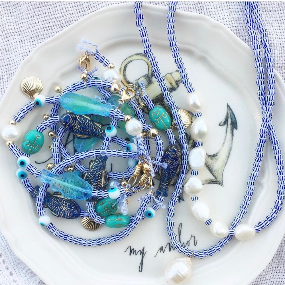 Image of TenThings. BLUE + WHITE. Beaded. Necklace. N-LIDO
