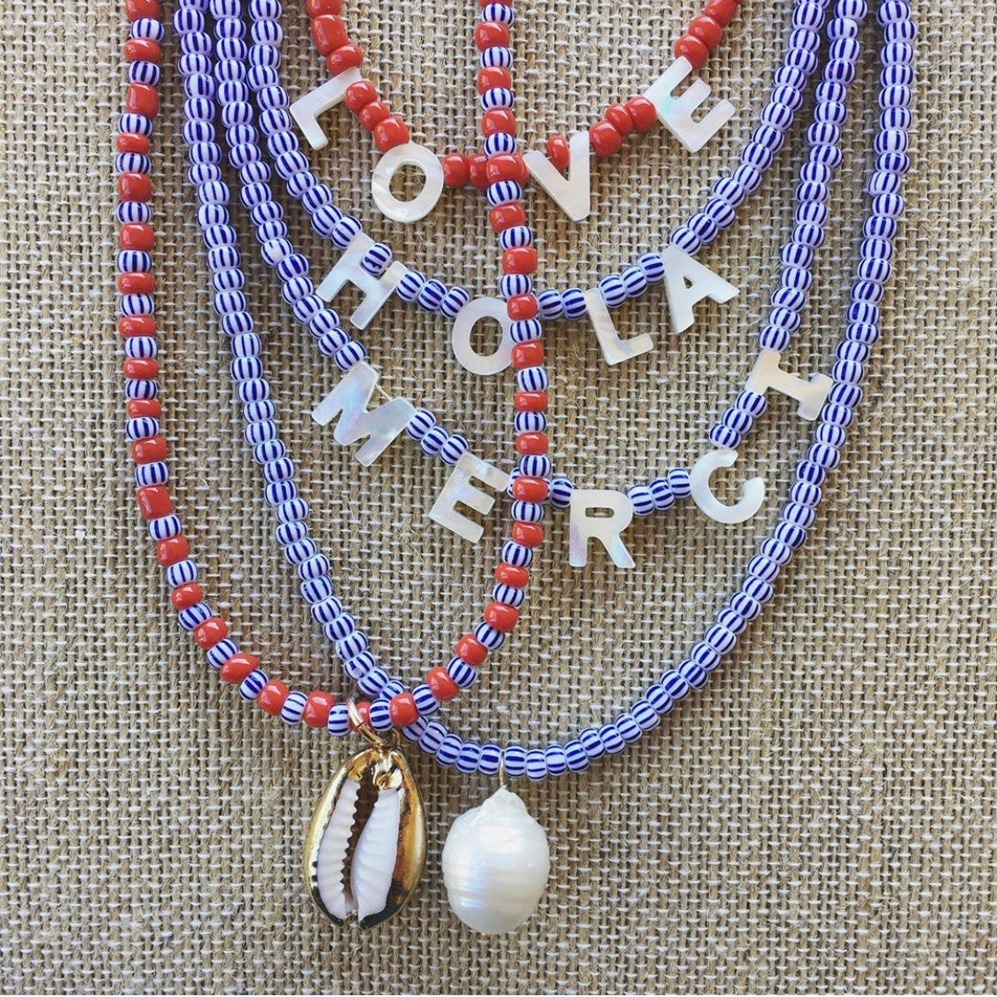 TenThings. Mother -of-Pearl. Word. Necklace.
